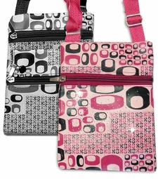 CLEARANCE!  Black, Brown, Oval Print Designs And Add Rhinestuds! With Canvas Strap Zippers Camera Cellphone Bag
