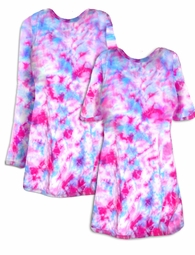 SALE! Cotton Candy Pink Blue Tie Dye Long Sleeve or Short Sleeve Plus Size T-Shirt + Add Rhinestones L XL 2x 3x 4x 5x 6x