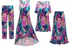 Pink & Green Tropical Foliage Slinky Print - Plus Size Slinky Dresses Shirts Jackets Pants Palazzo�s & Skirts - Sizes Lg to 9x