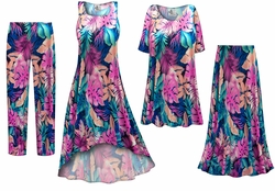 SOLD OUT! Pink & Green Tropical Foliage Slinky Print - Plus Size Slinky Dresses Shirts Jackets Pants Palazzo�s & Skirts - Sizes Lg to 9x