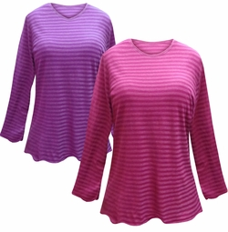 NEW! Purple or Pink Striped Long Sleeve Plus Size T-Shirt 4x 5x