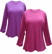 FINAL CLEARANCE SALE! Purple or Pink Striped Long Sleeve Plus Size T-Shirt 4x 5x