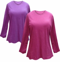 SALE! Purple or Pink Striped Long Sleeve Plus Size T-Shirt 4x 5x