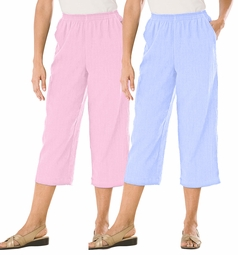 CLEARANCE! Pink or Sky Blue Petite Calcutta Cloth Plus Size Capris  8X/40W