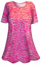 CLEARANCE! Pink & White Tiger Stripe Animal Print Plus Size & Supersize T-Shirts 2x