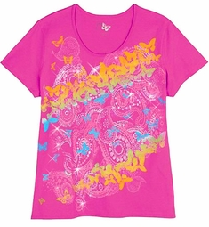 SOLD OUT! CLEARANCE! Pink With Yellow Bright Butterflies Print Glittery Plus Size T-Shirt  5x