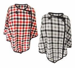 SALE! Plaid Micro Fleece One Size Poncho