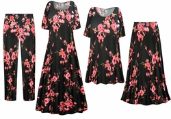 SOLD OUT! Plum Blossom Slinky Print - Plus Size Slinky Dresses Shirts Jackets Pants Palazzo�s & Skirts - Sizes Lg to 9x