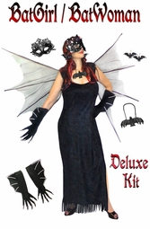 SALE! Plus Size Bat Woman Costume + Accessories Plus Size Supersize Halloween Costume Kit Lg XL 1x 2x 3x 4x 5x 6x 7x 8x 9x