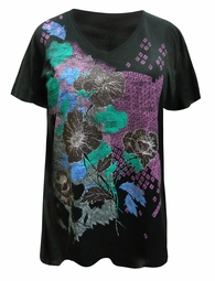 NEW! Plus Size Black Glittery Poppy Floral Design Short Sleeve V-Neckline T-Shirt 5x