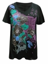CLEARANCE! Plus Size Black Glittery Poppy Floral Design Short Sleeve V-Neckline T-Shirt 5x