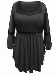 NEW! Plus Size Black Lace Trim Bell Sleeve Babydoll Slinky Top 4x 5x 6x 7x