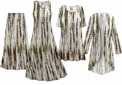 NEW! Plus Size Cream with Brown Ink Lines Slinky Dresses Shirts Jackets Pants Palazzo�s & Skirts - Sizes Lg to 9x