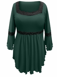 NEW! Plus Size Green Lace Trim Bell Sleeve Babydoll Slinky Top 4x 5x 6x 7x