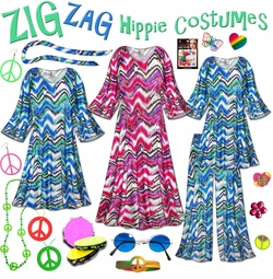 SALE! Groovy Zigzag Plus Size Hippie Costume - 60's Style Retro Dress or Top & Wide-Bottom Pant Set Plus Size & Supersize Hippie Halloween Costume Kit Lg XL 0x 1x 2x 3x 4x 5x 6x 7x 8x 9x