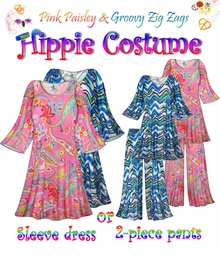 SOLD OUT! SALE! Plus Size Hippie Costume in Pink Paisley and Groovy Zig Zag Print - 60's Style Retro Moo-Moo Dress or Top & Wide-Bottom Pant Set Plus Size & Supersize Hippie Halloween Costume Kit 0x 1x 2x 3x 4x 5x 6x 7x 8x 9x