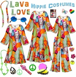 SOLD OUT! SALE! Lava Love Print Plus Size Hippie Costume - 60's Style Retro Dress or Top & Wide-Bottom Pant Set Plus Size & Supersize Halloween Costume Kit Lg XL 0x 1x 2x 3x 4x 5x 6x 7x 8x 9x