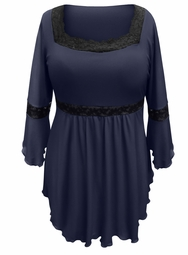 NEW! Plus Size Navy Lace Trim Bell Sleeve Babydoll Slinky Top 4x 5x 6x 7x