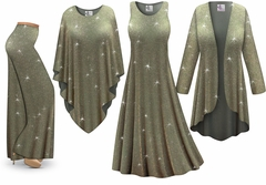 NEW! Plus Size Sparkling Olive Glitter Slinky Dresses Shirts Jackets Pants Palazzo�s & Skirts - Sizes Lg to 9x