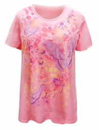 NEW! Plus Size Pink Flowers & Butterflies Design Short Sleeve T-Shirt 5x