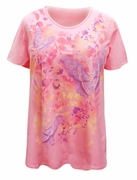 FINAL CLEARANCE SALE! Plus Size Pink Flowers & Butterflies Design Short Sleeve T-Shirt 5x