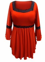 SALE! Plus Size Red Lace Trim Bell Sleeve Babydoll Slinky Top 5x