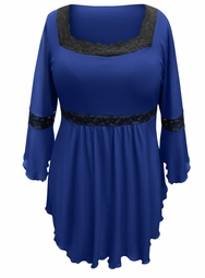 NEW! Plus Size Royal Blue Lace Trim Bell Sleeve Babydoll Slinky Top 4x 5x 6x 7x