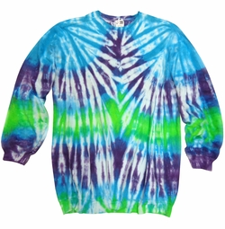 NEW! Plus Size Turquoise Purple & Green Tie Dye Print Long Sleeve Sweatshirt 2x 3x 4x