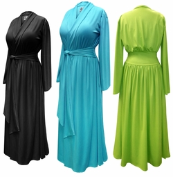 SALE! Solid Color Poly/Cotton Robe With Attached Belt - Plus Size Supersize 0x 1x 2x 3x 4x 5x 6x 7x 8x 9x