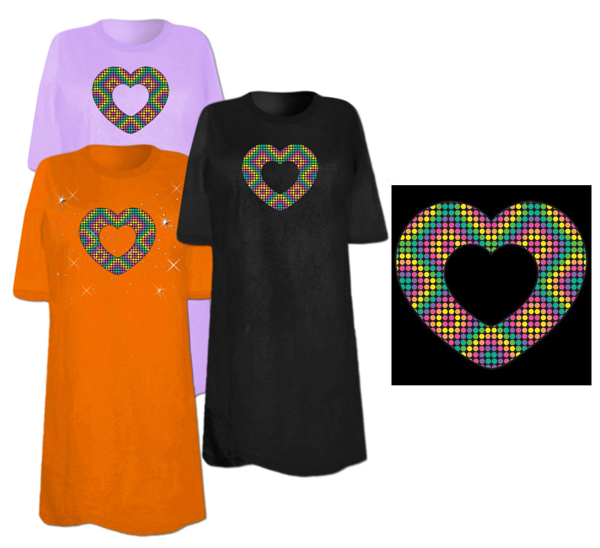 Sale Pop Heart With Dots Plus Size Supersize T Shirts S