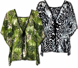 SOLD OUT!! Pretty Black or Green Animal Print Slinky Mock 2pc Plus Size Tops! 4x 5x 6x