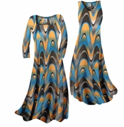 CLEARANCE! Pretty Blue & Alloy Orange Zig Zag Swirls Print Slinky Plus Size & Supersize A-Line Dresses 2x