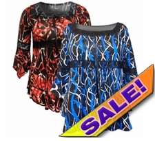 SOLD OUT! SALE! Pretty Blue & Black or Red & Black Print Lace Trim Bell Sleeve Slinky Plus Size Shirts 4x