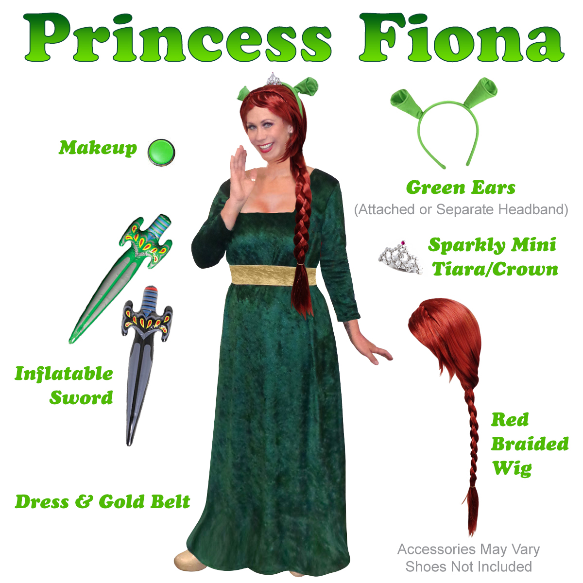 Plus Size Princess Fiona Costume from Shrek! Plus Size And Supersize Halloween Costume + Add Accessories! Sizes S-XL u0026 Plus Size 1x 2x 3x 4x Supersize 5x 6x ...  sc 1 th 225 : shrek and fiona halloween costumes  - Germanpascual.Com