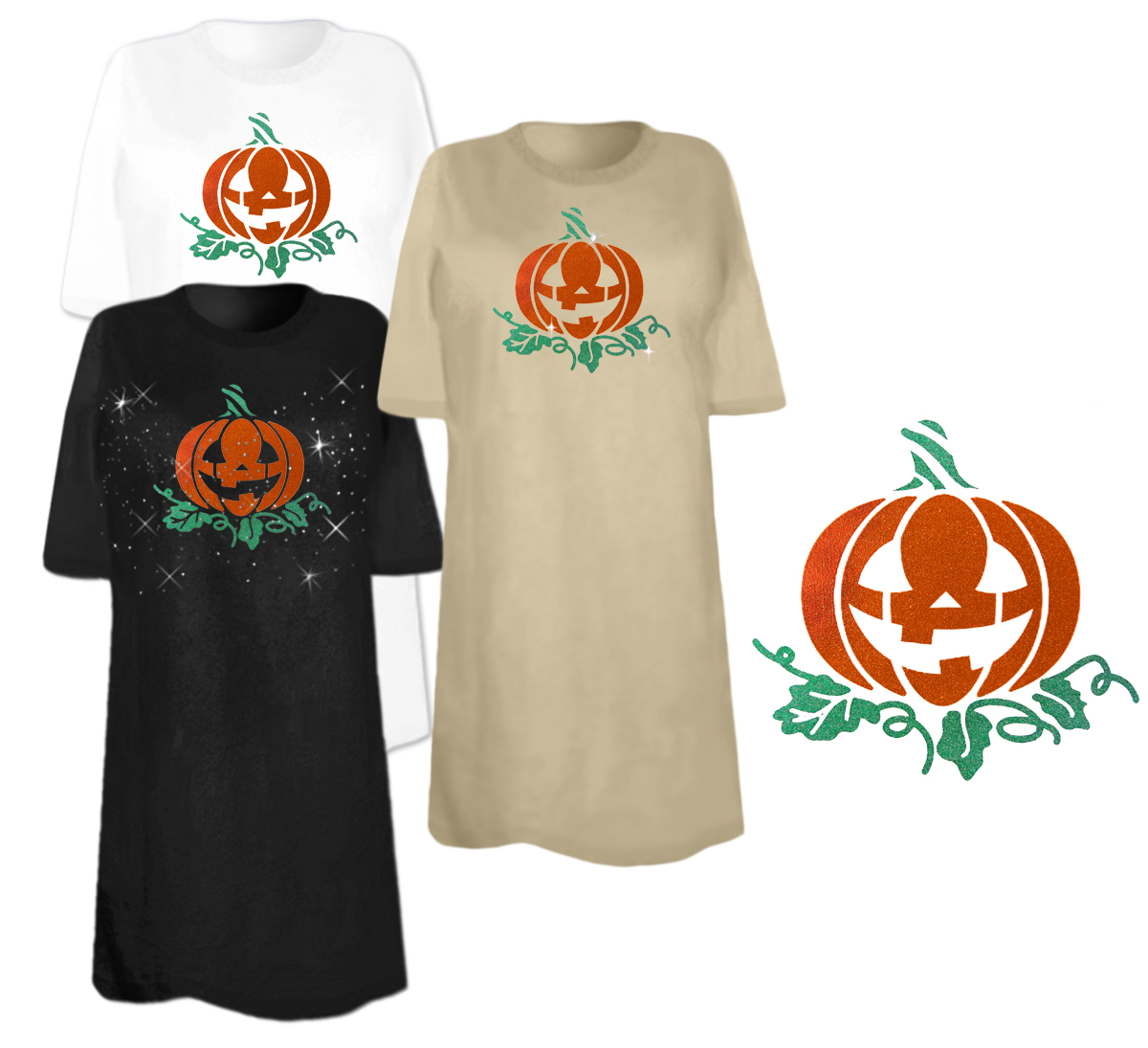 Sale Pumpkin Glitter Plus Size Supersize T Shirts S M L