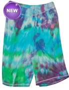 SALE! Purple, Blue, Green or Black Tie Dye on Gray Plus Size Shorts Md 5x  - <font color=red>Buy More & Save!!</font>
