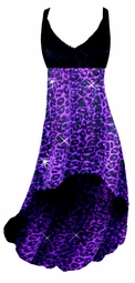 SOLD OUT! Purple Leopard Glittery Glimmer Slinky Plus Size Customize Hi-Low Empire Waist Dress add Matching Wrap 0x 1x 2x 3x 4x 5x 6x 7x 8x 9x