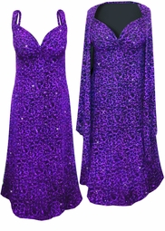 SOLD OUT! Purple Leopard Glittery Slinky Print 2 Piece Plus Size SuperSize Princess Seam Dress Set 0x 1x 2x 3x 4x 5x 6x 7x 8x 9x