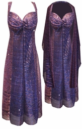 SOLD OUT! SALE! 2-Piece Semi-Sheer Purple Strokes Sparkle Glimmer w/ Liner Plus Size & SuperSize Princess Seam Dress Set XL ONLY