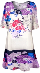 SOLD OUT! Purple Oriental Flower Print Plus Size & Supersize Extra Long T-Shirts 0x 1x 2x 3x 4x 5x 6x 7x 8x 9x Customizable!