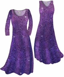 SOLD OUT! Purple Paisley Glitter Slinky Print Plus Size & Supersize Standard or Cascading A-Line or Princess Cut Dresses & Shirts, Jackets, Pants, Palazzo's or Skirts Lg to 9x