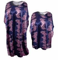 SOLD OUT! Customizable Purple & Pink Eyes Print Satin Plus Size & Supersize Caftan Dress or Shirt 1x to 6x