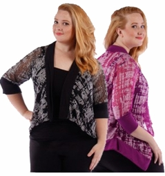 SALE! Purple Print Semi Sheer Half Sleeve Cardigan Jacket Coverup Plus Size 4x