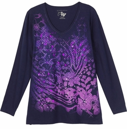 SOLD OUT! SALE! Purple Sparkly Gllittery Plus Size Long Sleeve T-Shirt 4x
