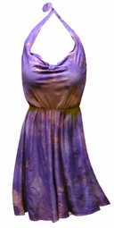 SOLD OUT! Purple & Tan Tie Dye Halter Style 2-Piece Plus Size Swimdress Supersize Crinkle Spandex Swimsuit 2x/3x