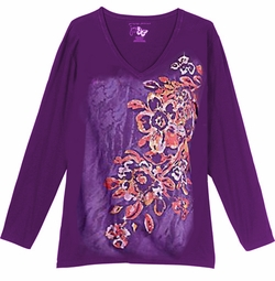 SALE! Purple Tribal Club Glittery Floral Print Plus Size Long Sleeve T-Shirt 1x 4x