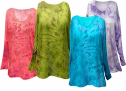 SALE! Marble Tie Dye Long Sleeve Plus Size Shirts 4x 5x