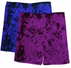 SALE! Purple or Black Tie Dye Plus Size Shorts Md 5x  - <font color=red>Buy More & Save!</font>