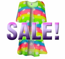SOLD OUT! Customize Rainbow Daisy Swimsuit Coverup Plus Size Slinky Duster Jacket 1x 2x 3x 4x Supersize L XL 1x 2x 3x 4x 5x 6x 7x 8x 9x