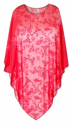 SALE! Red Floral Scroll Sheer Plus Size Supersize Poncho